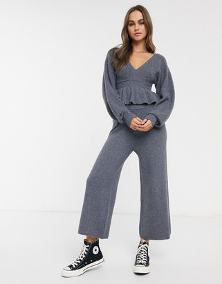ASOS DESIGN Lounge two-piece rib knit wide leg pants in recycled blend