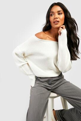boohoo Crop Slash Neck Fisherman Sweater