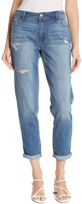 1822 Denim Distressed High Rise Rolled Skinny Jeans