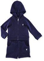 Burberry Quinten Hooded Sweatshirt w/ Shorts, Navy, Size 6M-3