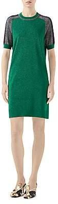 Gucci Women's Fine Wool Short Sleeve Dress with Contrast Stripe