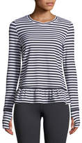Kate Spade Stripe Ruffle Long-Sleeve Pullover Top