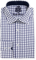 English Laundry Windowpane-Check Textured Dress Shirt, Navy