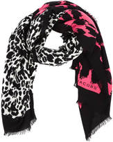 Marc Jacobs Women's Dotted Leopard Stole Scarf Bright Pink