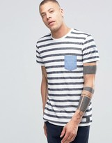 !solid Crew Neck Striped T-shirt With Contrast Pocket And Arm Detail