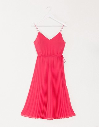 ASOS DESIGN pleated cami midi dress with drawstring waist in hot pink