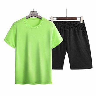 Curt Shariah Men's Trackusit Casual Short Sleeve T-Shirts and Shorts Summer Activewear Athletic Sports Suit Set
