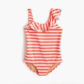 J.Crew Girls' ruffle one-piece swimsuit in stripe