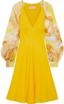Emilio Pucci Printed Chiffon-paneled Cady Dress