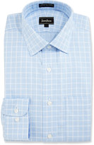 Neiman Marcus Classic-Fit Non-Iron Windowpane-Check Dress Shirt, Blue/White