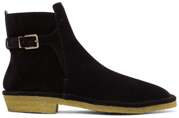 Clergerie Black Suede Buckle Boots