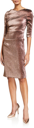 Rickie Freeman For Teri Jon Metallic Elbow-Sleeve Asymmetric Tucked Sheath Dress