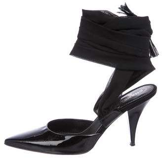 Chanel Patent Leather Wrap-Around Pumps