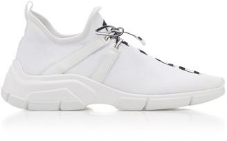 Prada Leather-Trimmed Logo-Intarsia Stretch-Knit Sneakers