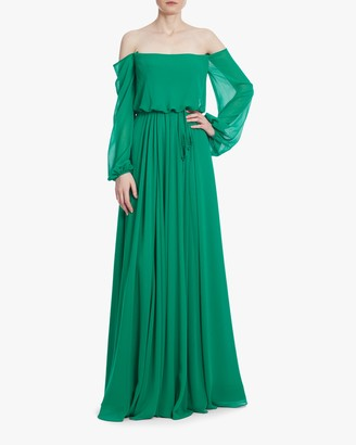 Badgley Mischka Dark Emerald Off-Shoulder Dress