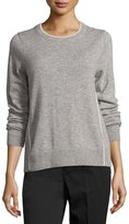 Vince Contrast Tipping Crewneck Sweater, Gray/White