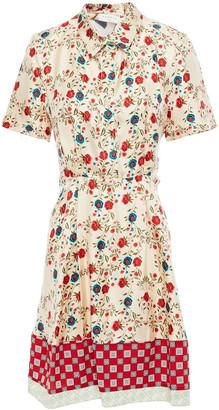 Sandro Ayeon Open-back Floral-print Silk-twill Mini Shirt Dress