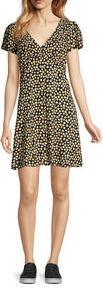 My Michelle Juniors Short Sleeve Floral Fit & Flare Dress