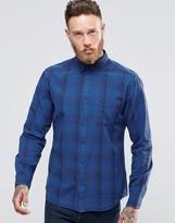 Wrangler Buttondown Shirt In Blue Overdyed Subtle Check
