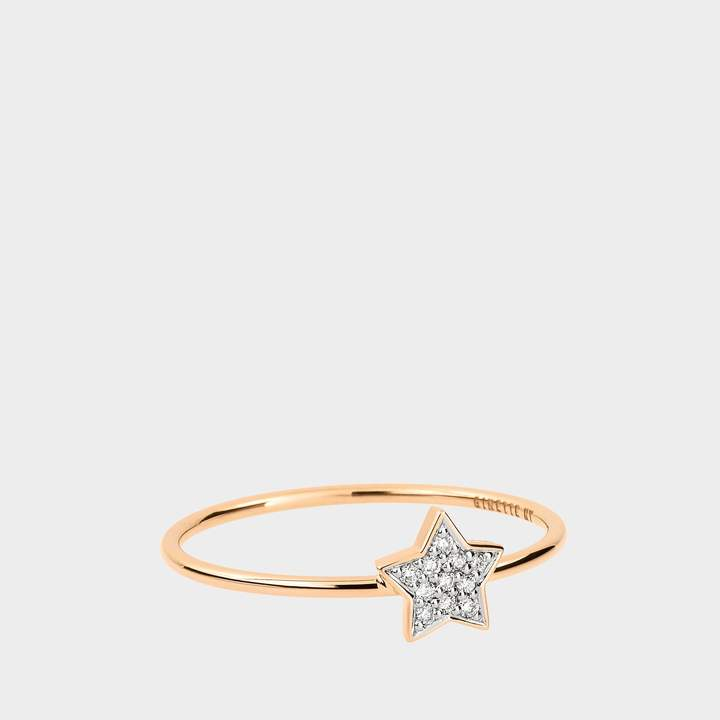 ginette_ny Tiny Diamond Star Ring in 18K Rose Gold and Diamonds