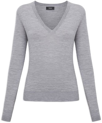 Theory V-neck Sweater In Regal Wool