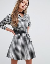Boohoo Gingham Wrap Over Shirt Dress