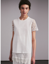 Burberry Tulle-sleeve Cotton T-Shirt