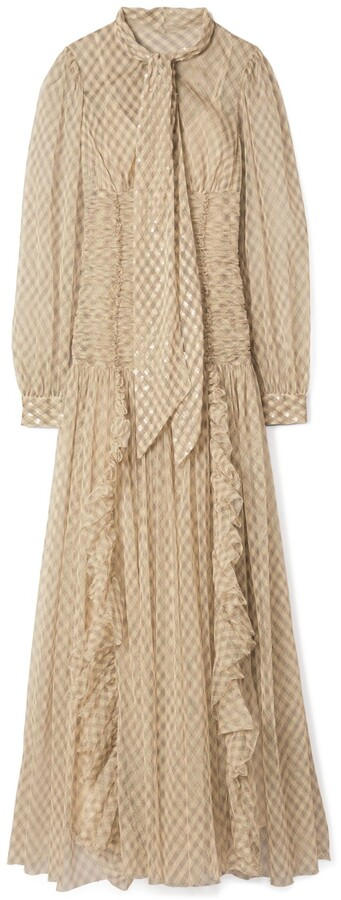 Tory Burch Plaid Tulle Gown