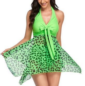 Trieksull Womens Two Piece Mesh Print Tummy Control Swimdress Tankini Swimsuit (Green M )