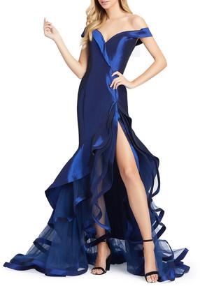 Mac Duggal Off-the-Shoulder Sweetheart Tiered Taffeta Mermaid Gown