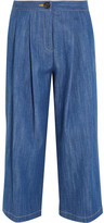 ADAM by Adam Lippes Pleated Stretch-denim Culottes - Blue