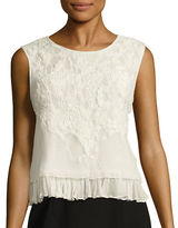 Elie Tahari Carlyn Embellished Tiered Silk Top