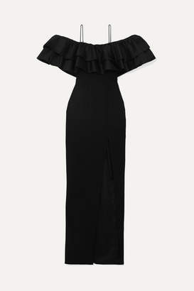 Rasario Ruffled Silk And Crepe Gown - Black