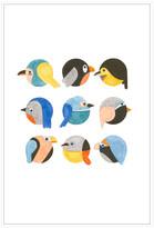 Jonathan Bass Studio Emoji Birds, Decorative Framed Hand Embellished Canvas