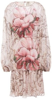 Alberta Ferretti Gathered Floral-print Silk-chiffon Dress