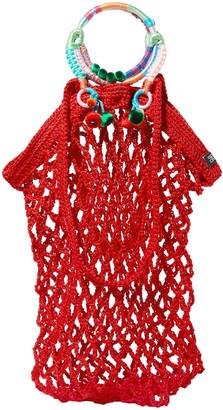 Nannacay Fishnet Pompom-embellished Macrame Tote