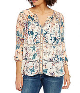 Lucky Brand Button Front Split V-Neck Blouse