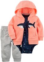 Carter's Baby Boy Shark Hooded Sweatshirt, Print Bodysuit & Jeggings Set