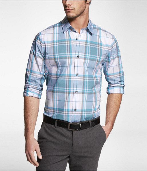 Express Extra Slim Fit Plaid Semi-Spread Collar Shirt