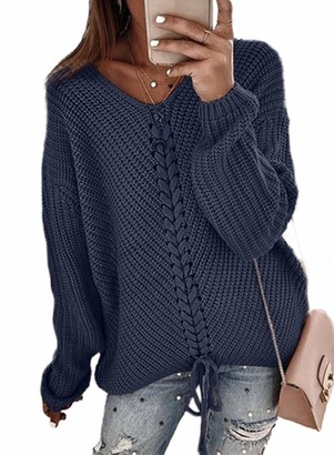 LOSRLY Womens Knitwear V Neck Long Sleeve Drop Shoulder Drawstring Solid Color Pullover Knit Jumper Sweaters for Women Tunic Tops Blue