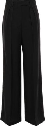 Alexander Wang Satin-trimmed Twill Wide-leg Pants