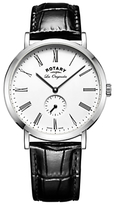 Rotary Gs90190/01 Les Originales Leather Strap Watch, Black/white