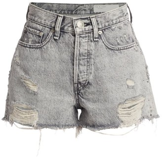 Rag & Bone Maya High-Rise Distressed Hem Denim Shorts