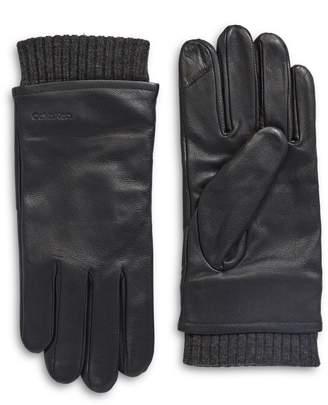 Calvin Klein Fleece-Lined Leather Touchscreen Gloves