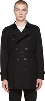 Burberry Black Mid-Length Kensington Trench Coat
