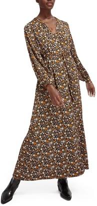 Scotch & Soda Print Tie Waist Maxi Dress
