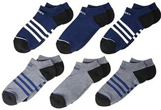 adidas Kids Kids 3-Stripe No Show Socks 6-Pack (Little Kid/Big Kid/Adult) (Tech Indigo Blue/Legend Ink Blue Marl/White/Black) Kids Shoes