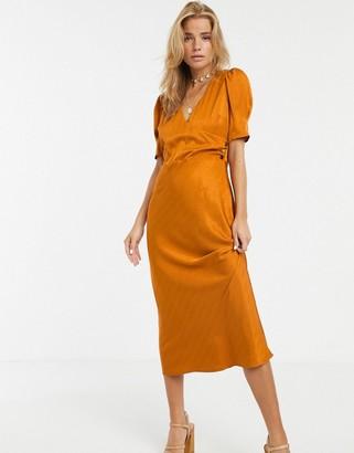 Moon River satin pumpkin midi dress