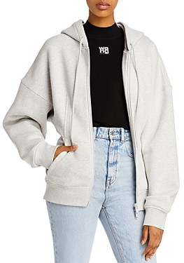 alexanderwang.t Sculpted Cotton Zip-Up Hoodie
