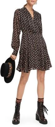 Scotch & Soda Floral Print Long Sleeve A-Line Dress